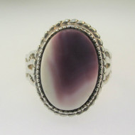 Sterling Silver Purple White Wampum Quahog Ring Size 6.5