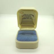 Vintage Ladies Empty Cream & Light Blue Plastic Ring Box Made in U.S.A.