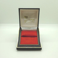 Vintage Ladies Plastic Ring Box Empty Black w Gold Diamond Pattern & Red Bed