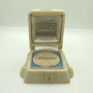 Vintage Ladies Art Deco Plastic Ring Box Empty Domed Lid with Round Velvet Bed