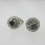 Sterling Silver 1/3ct TW White & Black Diamond Earrings