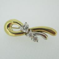 18k Yellow Gold 1.76ct TW Heart Shaped Diamond Pin Brooch