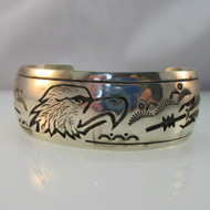 Sterling Silver Signed Eagle Feather Southwest Style Cuff Bracelet