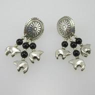 Sterling Silver Shube Bear Southwest Dangle Earrings