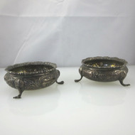 Pair of Antique Early 1900s Birmingham William Aitken Sterling Silver Open Salts