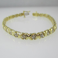 14k Yellow Gold Tennis Bracelet with Approx 1.0ct TW Diamond Accents 7 inches