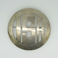 Vintage Sterling Silver Southwestern Large Round Brooch Pin with Initials ISR