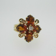 10k Yellow Gold Garnet and Diamond Accent Fashion Ring Size 6 1/2