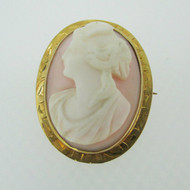 Vintage 10k Yellow Gold Coral Cameo Brooch Pendant
