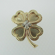 10k Yellow Gold Four Leaf Clover Pin Brooch with Diamond Accent