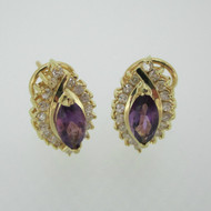 14k Yellow Gold Amethyst and Approx .50ct TW Diamond Lever Back Earrings