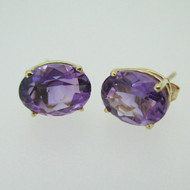 14k Yellow Gold Oval Amethyst Stud Earrings