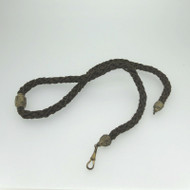 Vintage Mourning Jewelry Watch Fob Braided Human Hair with Gold Tone Fastenings