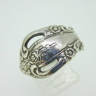Sterling Silver Oneida Rose Flower Spoon Ring Expandable