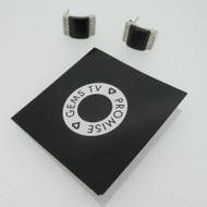 Sterling Silver Brazil Black Onyx & White Topaz Gems TV Earrings