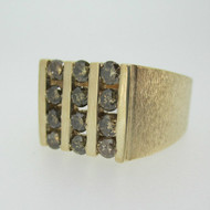 10k Yellow Gold Approx 1.0ct TW Champagne Colored Diamond Men's Ring with Brush Finish Size 10