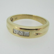 14k Yellow Gold Approx .50ct TW Princess Cut Diamond Band Ring Size 10 1/2