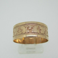 10k Rose Gold Band with Design Around Band Size 8 1/2