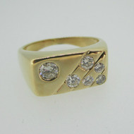 14k Yellow Gold 1.0ct Total Weight Round Brilliant Cut Diamond Men's Band Ring Size 11