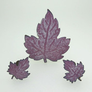 Vintage Bronze Tone Purple Enameled Leaf Brooch Pin & Screw Back Earrings Set