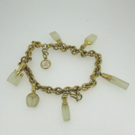 Gold Tone Unsigned Anklet or Layered Bracelet w Six Perfume Bottle Shaped Charms