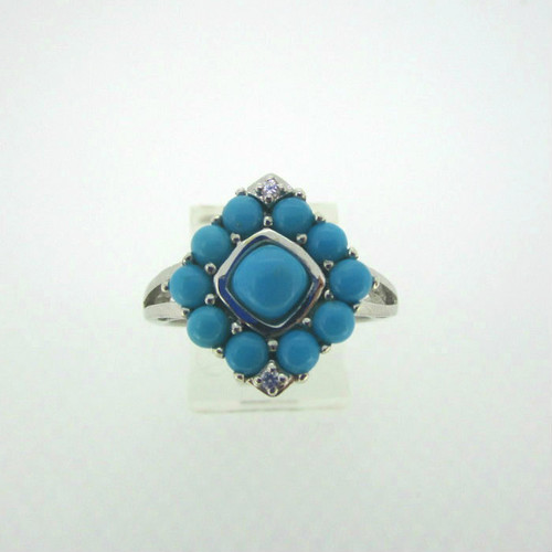 Sterling Silver Turquoise with Cubic Zirconia Accents  Ring Size 8
