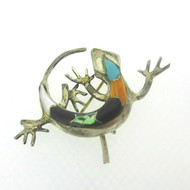 Sterling Silver Turquoise Abalone Black Onyx Lizard Pendant Pin