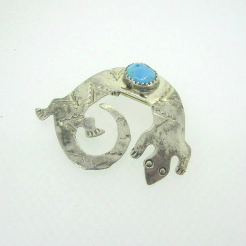 Sterling Silver Turquoise Lizard Pin