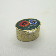 Vintage Petite Gold Tone Micro Mosaic Pill Trinket Box Unsigned Made in Italy