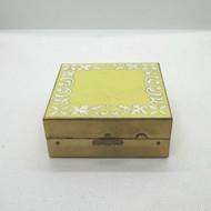 Vintage Gold Tone & Enameled Ladies Elgin American Square Makeup Powder Compact