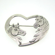 Sterling Silver Heart Horse Head Pin Brooch