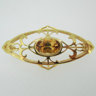 18k Yellow Gold Citrine Pin Brooch