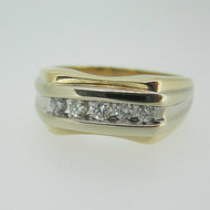 14k Yellow Gold Approx .25ct TW Men's Band Ring Size 10 1/2