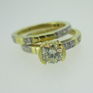 18k Yellow Gold .72ct Light Natural Yellow Round Brilliant Cut Diamond Ring with Wedding Band Size 6 1/2