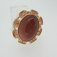 10k Yellow Gold Goldstone Ring Size 10 1/4