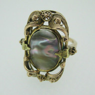 Vintage 10k Yellow Gold Abalone Ring with Filigree Detailing Size 3 1/4