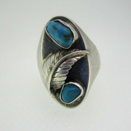 Sterling Silver Turquoise Feather Accent Ring Size 9 1/4