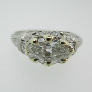 Vintage Platinum Approx 1.0ct Oval Cut Diamond Ring with Filigree Accents Size 5 3/4