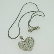 Sterling Silver Silpada Filigree Heart Pendant Rope Chain Necklace