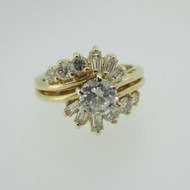 14k Yellow Gold Approx .45ct Round Brilliant Cut Diamond with Wedding Band Ring Size 4 1/2
