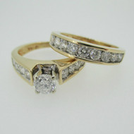 14k Yellow Gold Approx .45ct Round Brilliant Cut Diamond Ring with Diamond Accents and Diamond Wedding Band Size 5 1/4
