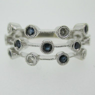 14k White Gold Sapphire and Diamond Multi Band Fashion Ring Size 7 1/2