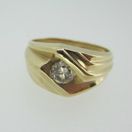 14k Yellow Gold Approx .50ct Round Brilliant Cut Champagne Colored Diamond Men's Band Size 10 1/2