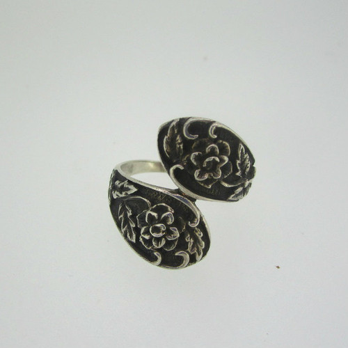 Sterling Silver Floral Wrap Ring Size 8 1/4