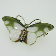 Sterling Silver Enamel Green White Butterfly Norway Pin Brooch