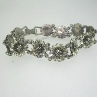"Sterling Silver Sunflower 7"" Bracelet"