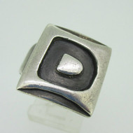 Sterling Silver Signet Initial Monogram D Ring Size 9.5