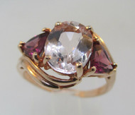 Beautiful 10k Rose Gold Morganite with Rhodolite Garnet Ring. Size 5 3/4*