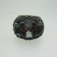 Sterling Silver Sajen Mother of Pearl Rhodolite Garnet Ruby Expandable Ring