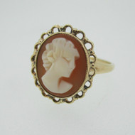Vintage 10k Yellow Gold Cameo Ring Size 7 1/2